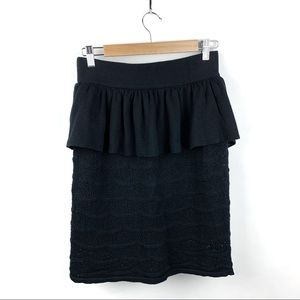 SALE Anthro Knitted & Knotted Black Peplum Skirt M